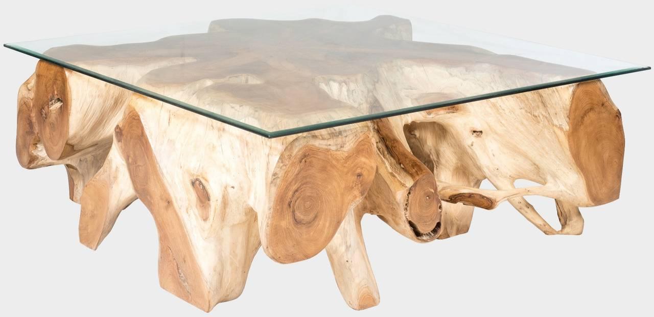 Teakový konferenční stolek z kořene se sklem BERT