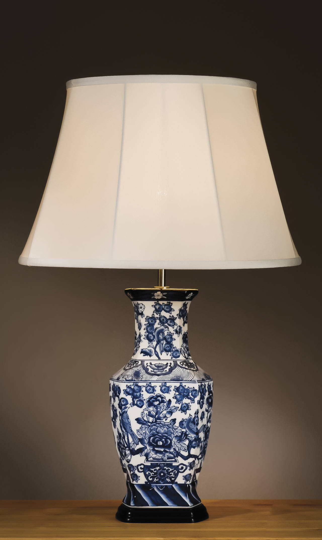 Stolní lampa blue hexagon vase